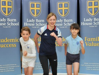 Katrina Hart with some of Lady Barn's young athletes