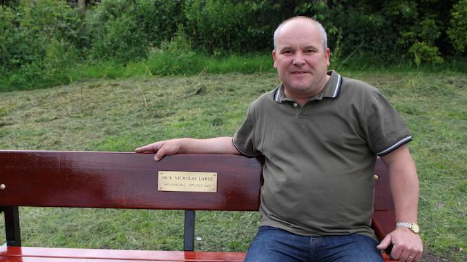Nick Large on son Jack' Large memorial bench
