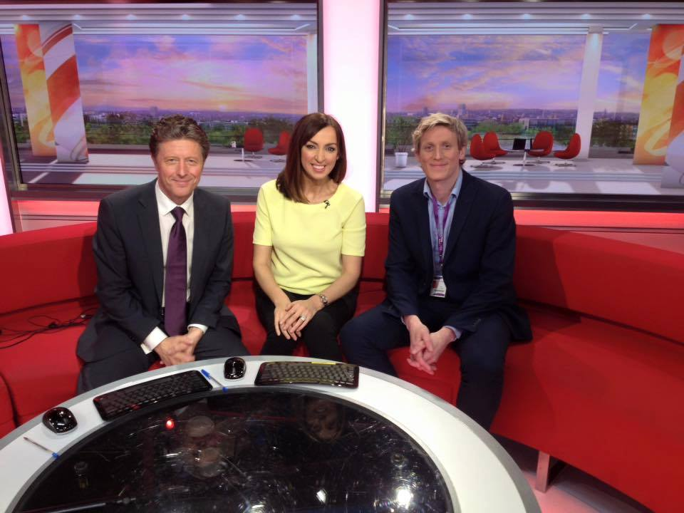 Simon Keegan with BBC Breakfast presenters Sally Nugent and Charlie Stayt