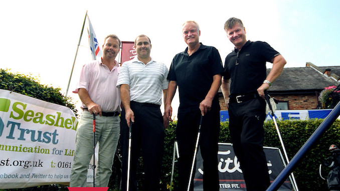 Roger Souter, Paul Harrison, Simon Carter and Andy Buckley at a previous Seashell Trust golf day