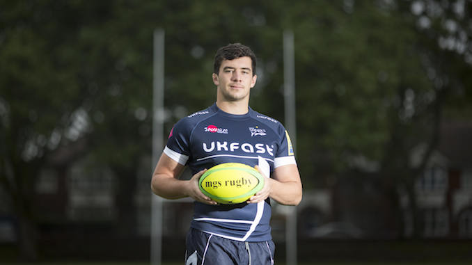 Cameron Neild back at Manchester Grammar School (Chris Bull) Cameron Nield , Sale Sharks rugby player and former MGS pupil. www.chrisbullphotographer.com