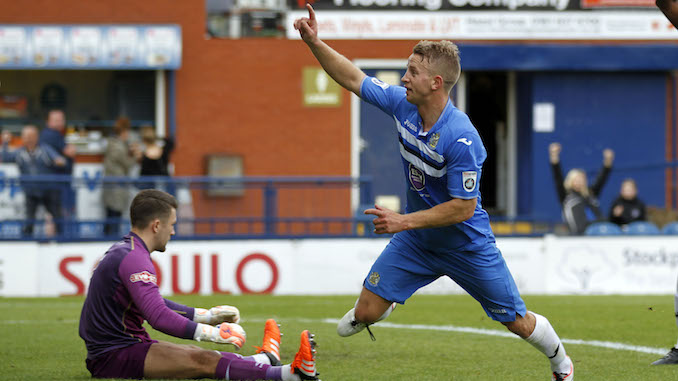 Gary Stopforth celebrates his goals for Stockport County (Photo by M Photographic)