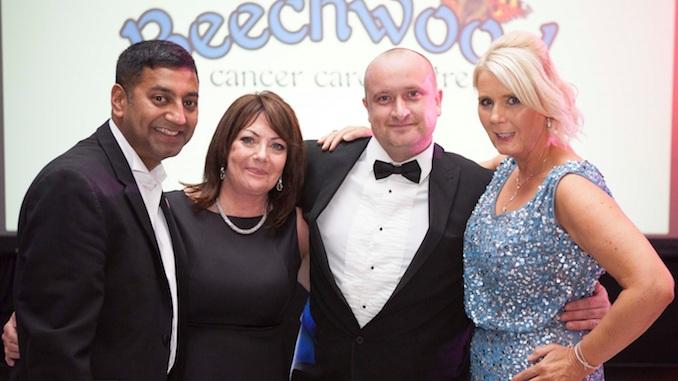 Salim and Beverley Uddin-Khandakar, Scott Cooke and Angela Gray at the Salutions Winter Wonderland Charity Ball