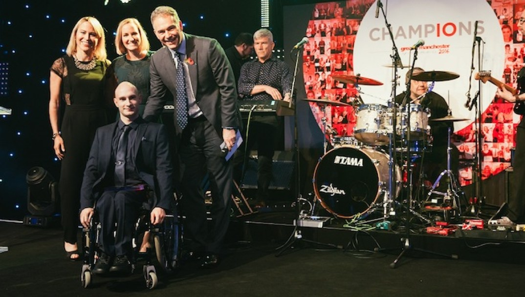 Andy Small receives his award for Disabled Sports Achiever of the Year at the Greater Manchester Sports Awards