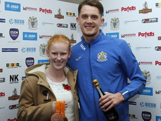 Rio Paralympic Gold Medal winner,Sophie Thornhill with Stockport County striker Jimmy Ball