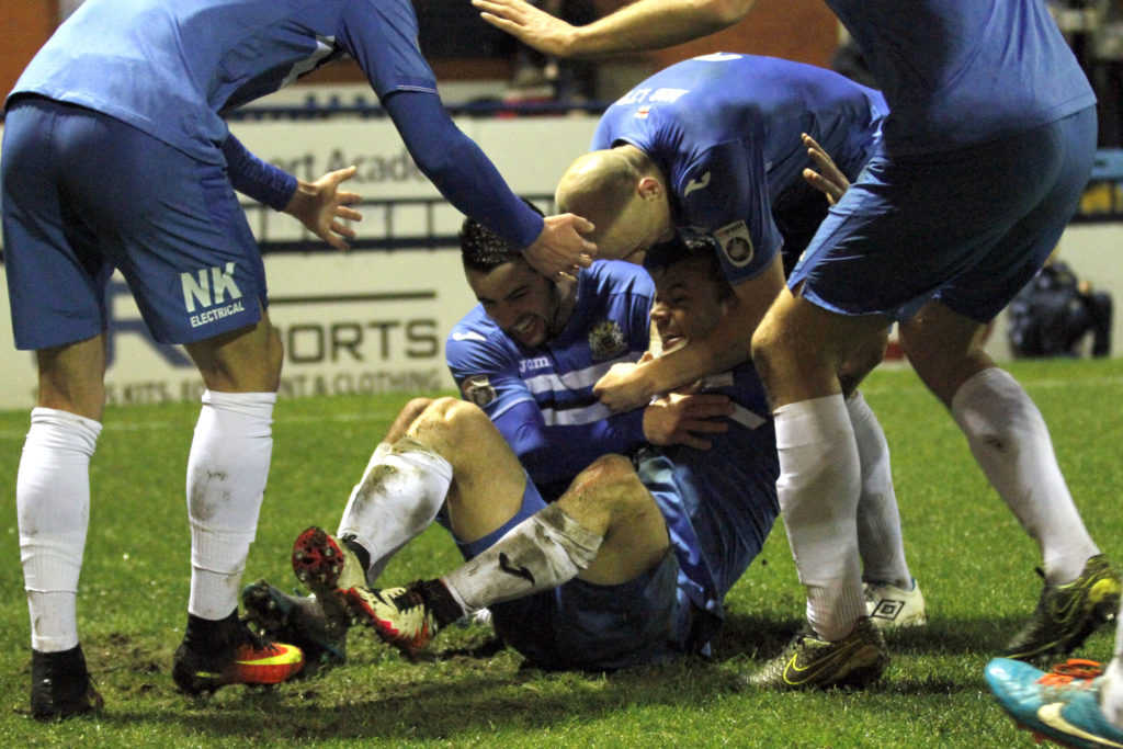 Danny Lloyd with the winner for Stockport against Marine AFC