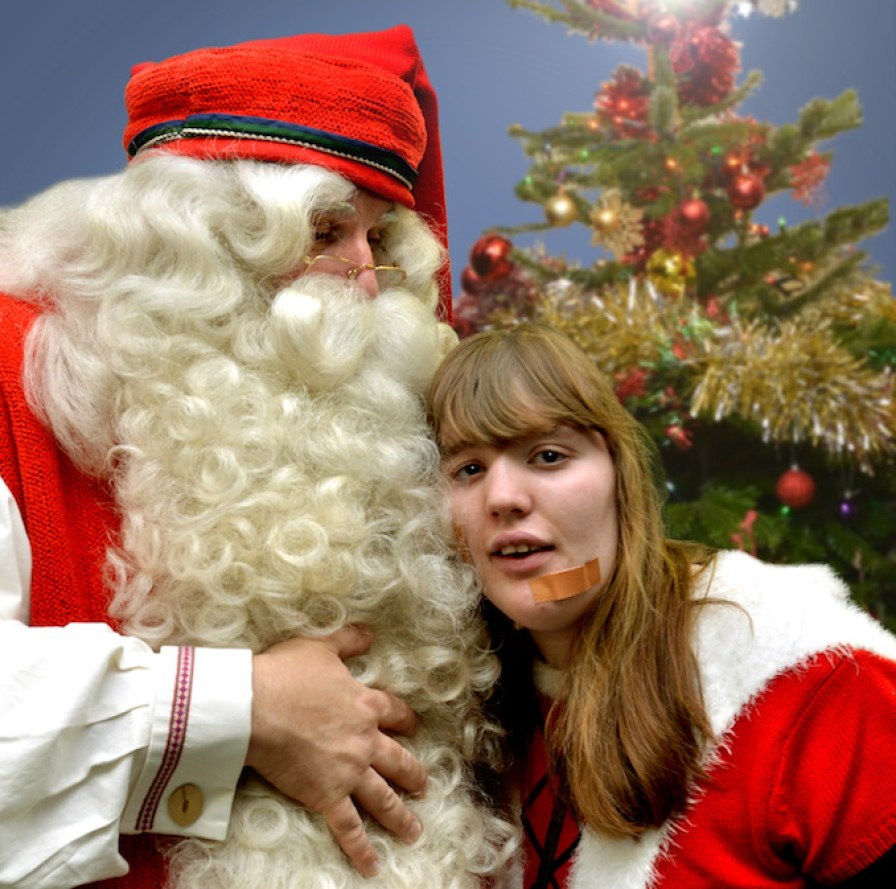 Father Christmas with Seashell student Shauna Miller at Seashell Trust