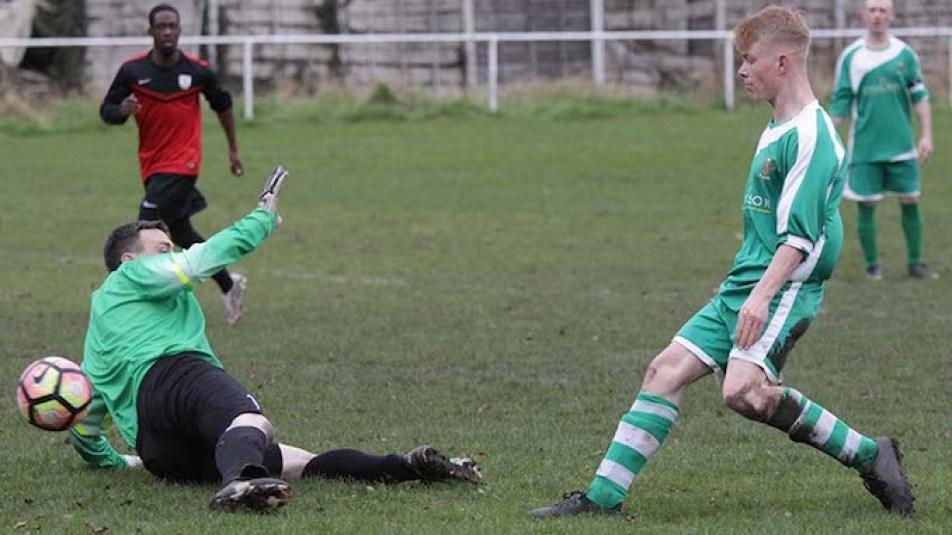 Whalley Range seconds v Hooley Bridge Celtic (Celtic in green)
