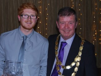 Ben Higham receives the Fred Perry Sports Personality of the Year award from Councillor Walter Brett