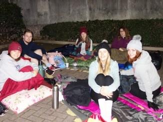 Katie Waud, Mat Wagstaffe, Lauren Roberts, Laura Mackowiak, Jo Warburton and Ellie Mae Wild from HURST sleeping rough