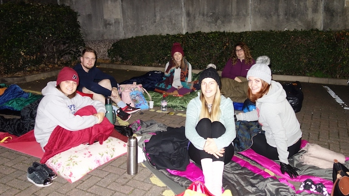 Katie Waud, Mat Wagstaffe, Lauren Roberts, Laura Mackowiak, Jo Warburton and Ellie Mae Wild from HURST sleeping rough