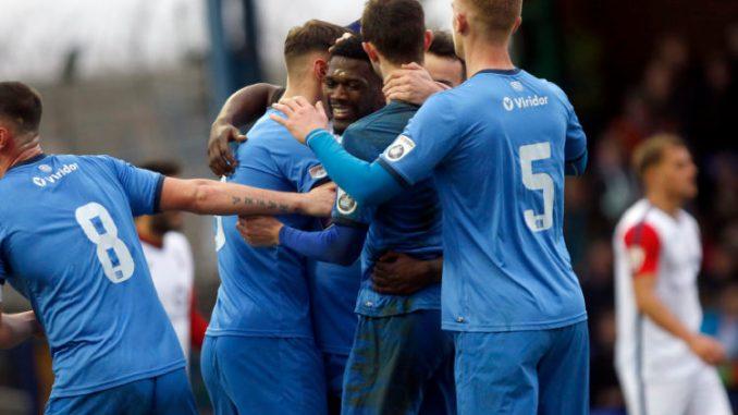Darren Stephenson celebrates for Stockport County against York City