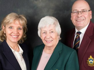 New Bramall Park Golf Club president Janet Brierley with 2018 captains Jo Coutts and Simon Bedford
