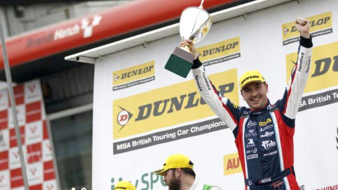 Tom Ingram celebrates his win at Brands Hatch