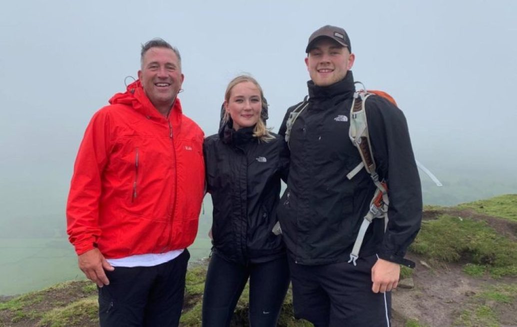 Chris Syddall, Rachael Syddall and Max Syddall during the Cheshire Three Peaks Challenge