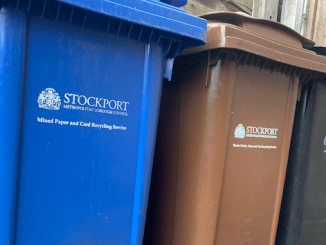 Blue. brown and black bins