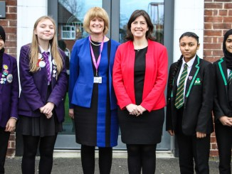 Students from both Whalley Range and Levenshulme pictured with executive headteacher Patsy Kane and Manchester Central MP, Lucy Powell