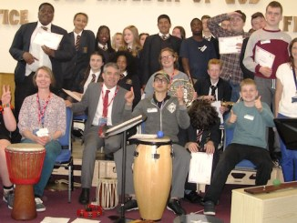 Pupils from Loreto High School and Grange School with MP Jeff Smith