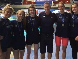 Stockport Metro swimmers Lucky McKenzie, Katie Matts, Anna Newlands, Sean Kelly (coach), Emma Gage and Holly Hibbott