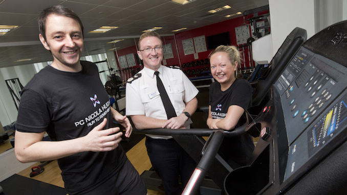 PC Stuart Rostron and PC Jenni Harlow-Smith preparing for the New York marathon with Chief Constable Ian Hopkins