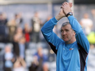 Jim Gannon celebrates Stockport County's FA Cup win (M Photographic)