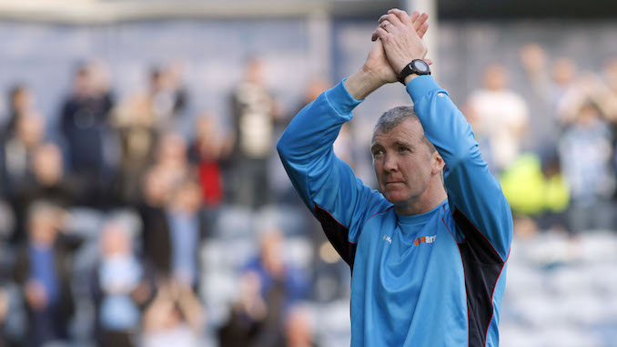 Jim Gannon celebrates Stockport County's FA Cup win (M Photographic)