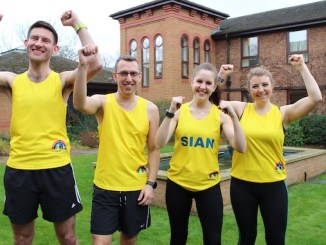 Tim Lovatt, James Gowin, Sian Dobson-Hughes and Lauren Iredale at Francis House prior to the London Marathon