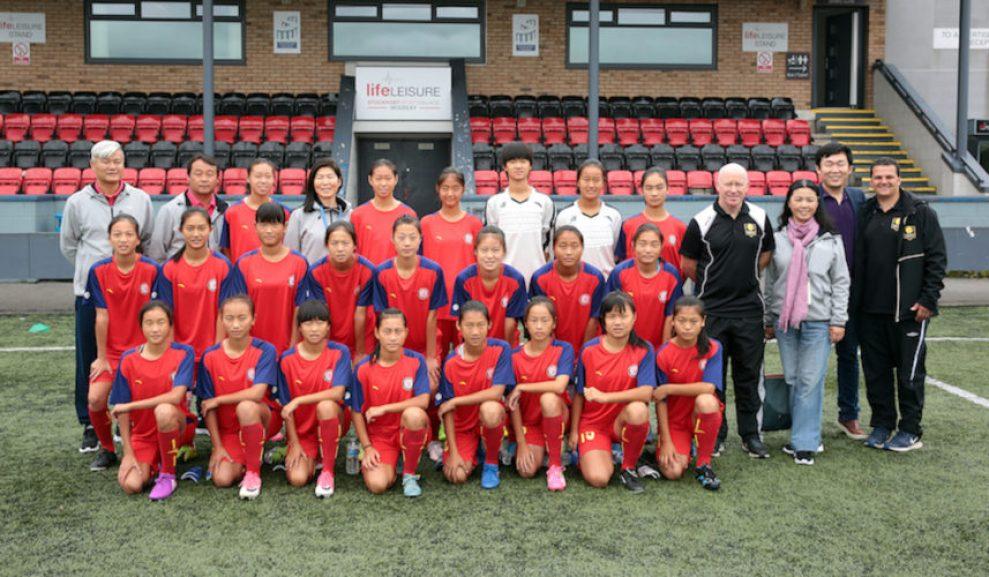 The Jiangsu Ladies football team at Stockport Sports Village