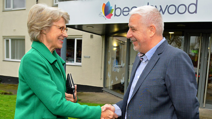The Duchess of Gloucester with Beechwood CEO Ian Hodge