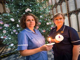St Ann Hospice nurses Sarah Thorley and Fiona Troup at last year's Light up a Life service