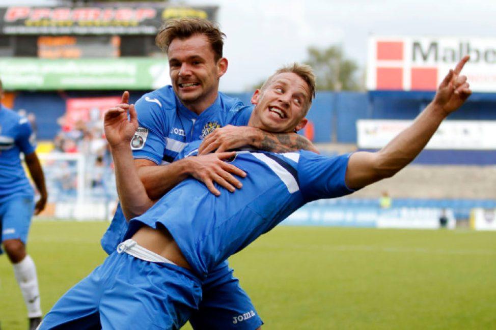 Gary Stopforth celebrates his goal against Salford City