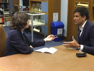 Dr Rangan Chatterjee being interviewed by MGS pupil Bruno Quinney