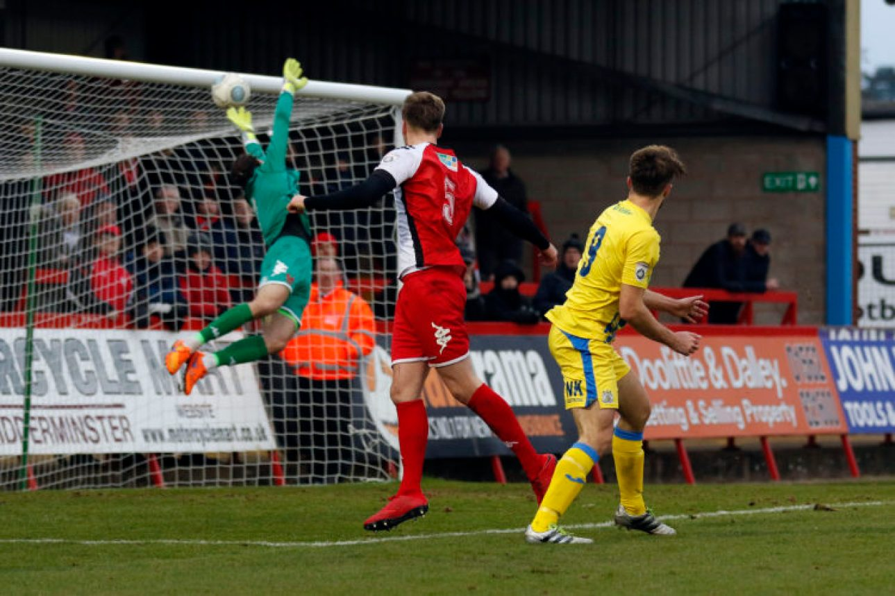 Jason Oswell heads Stockport into the lead against Kidderminster Harriers