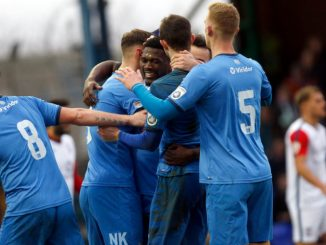 Darren Stephenson celebrates for Stockport County against York City