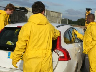 Seashell Trust students manning their car wash, which they are hoping to improve through Tesco Bags of Help funding.