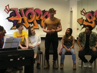 Darragh Cowley in rehearsals for Spring Awakening