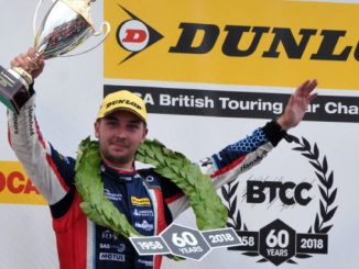 Tom Ingram on the podium at Snetterton
