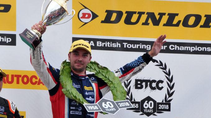 Tom Ingram on the podium at Snetterton