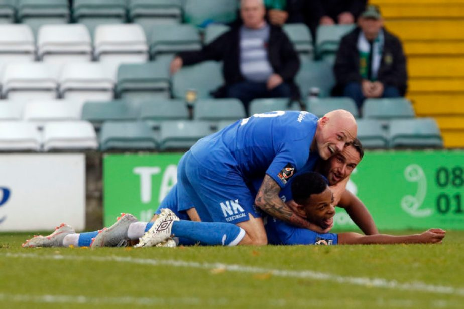 Nyal Bell celebrates putting County in front at Yeovil