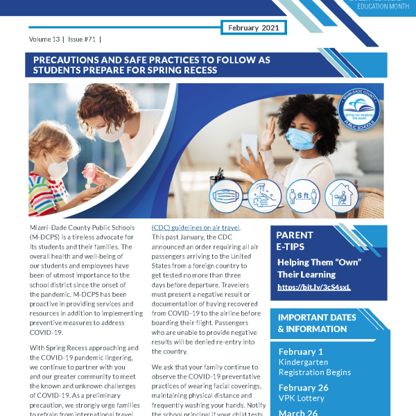 page 1 of newsletter