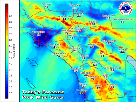 South OC Beaches Wind Gusts December 26 2015