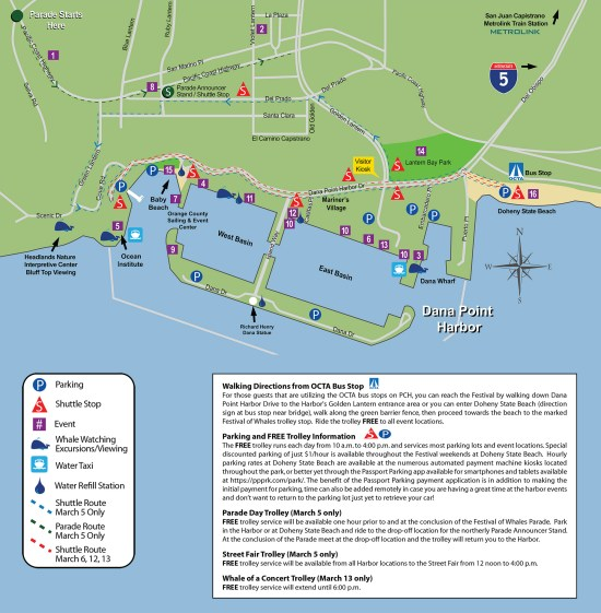 Dana Point Festival of the Whales 2016 Parking Map