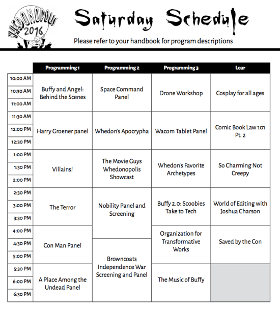 Whedonopolis 2016 Saturday May 14 2016 Schedule