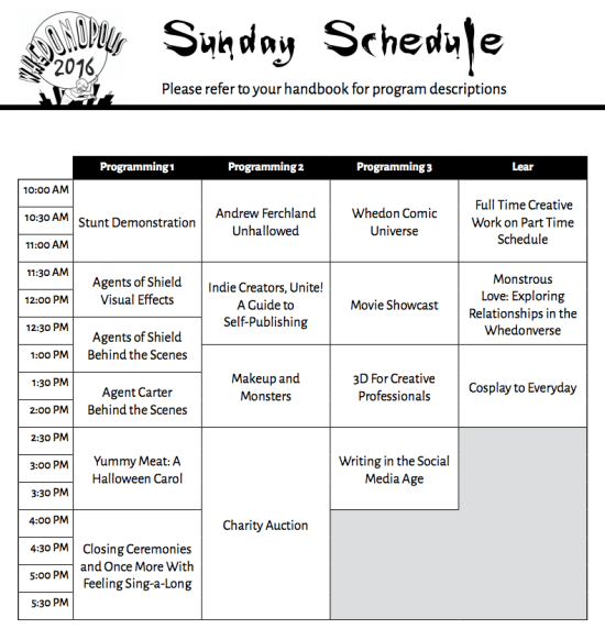Whedonopolis 2016 Sunday May 15 2016 Schedule