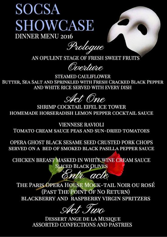 SOCSA Dinner Menu 2016