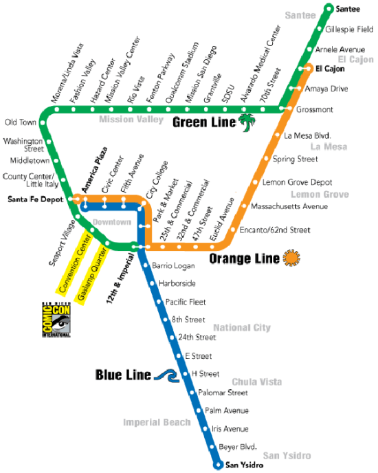 San Diego Trolley Map