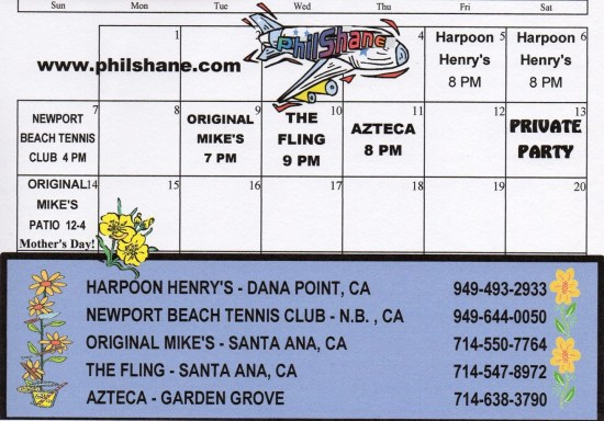 Phil Shane Orange County May 2017 Schedule
