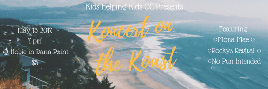 Kids Helping Kids Orange County Koncert on the Koast Hobie Surf Shop Dana Point CA May 13 2017