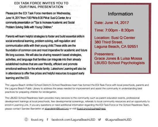 Laguna Beach Parenting Workshop June 14 2017