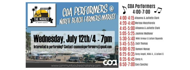 COA Performers North Beach Farmers Market July 12 2017
